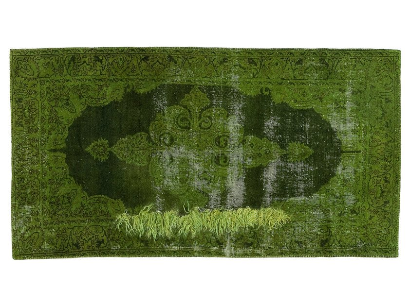 Vintage style handmade rectangular rug DECOLORIZED MOHAIR GREEN by Golran