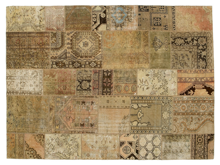 Vintage style patchwork rug PATCHWORK BEIGE by Golran