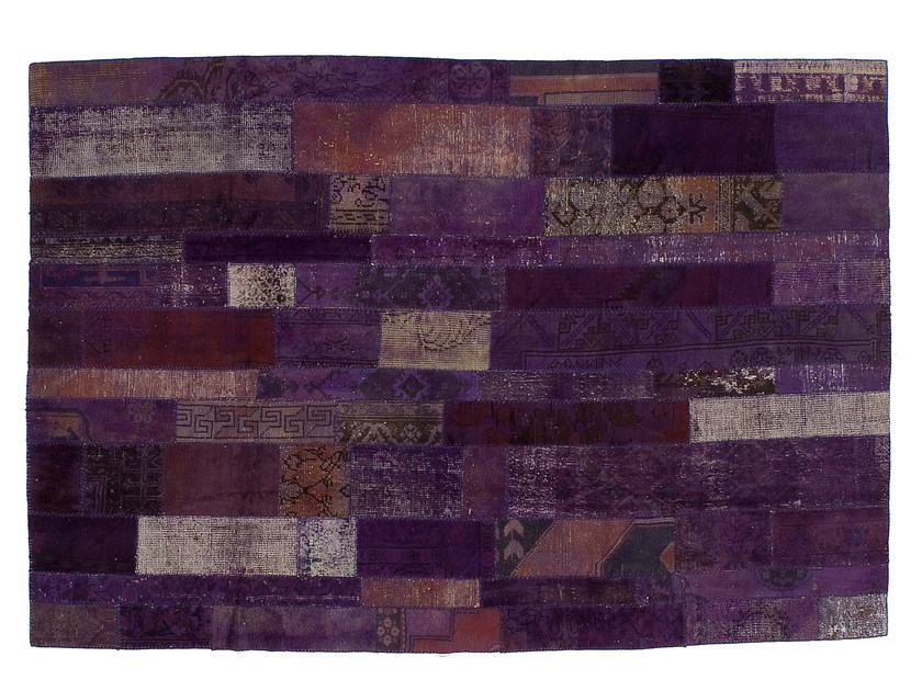 Vintage style patchwork rug PATCHWORK RESTYLED PURPLE by Golran