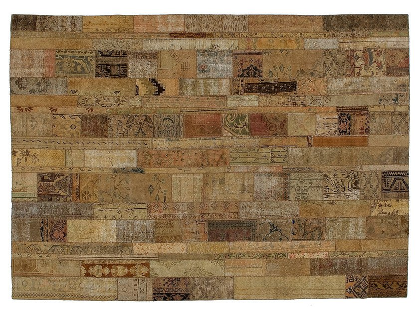 Vintage style patchwork rug PATCHWORK RESTYLED BEIGE by Golran