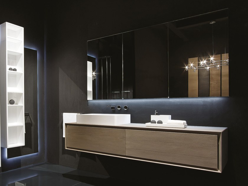 Lacquered wall-mounted vanity unit K.ONE | Single vanity unit by RIFRA