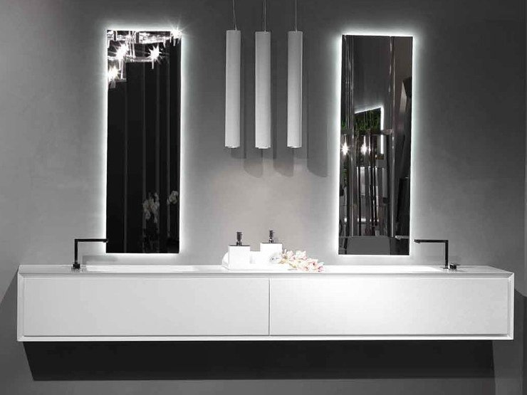 Lacquered wall-mounted vanity unit K.ONE | Double vanity unit by RIFRA