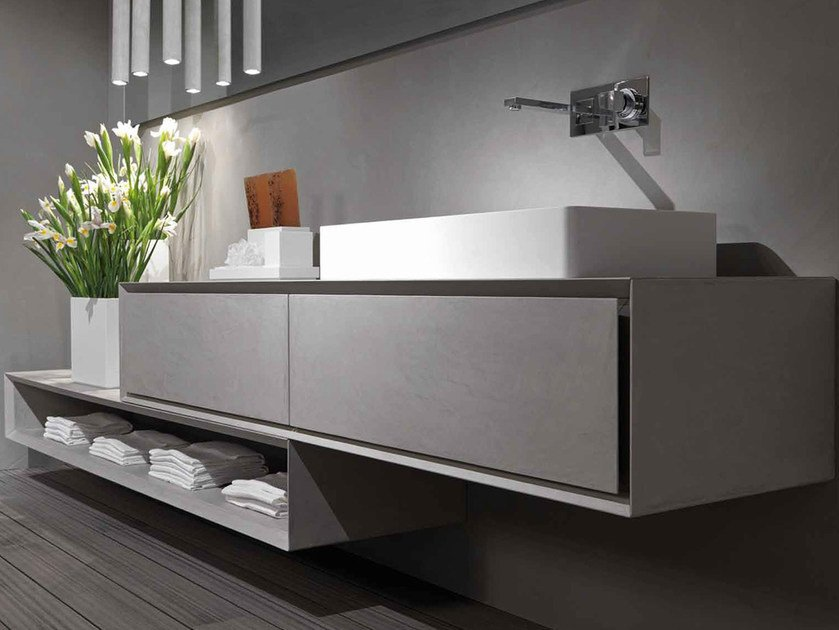 Wall-mounted cement vanity unit K.ONE | Cement vanity unit by RIFRA