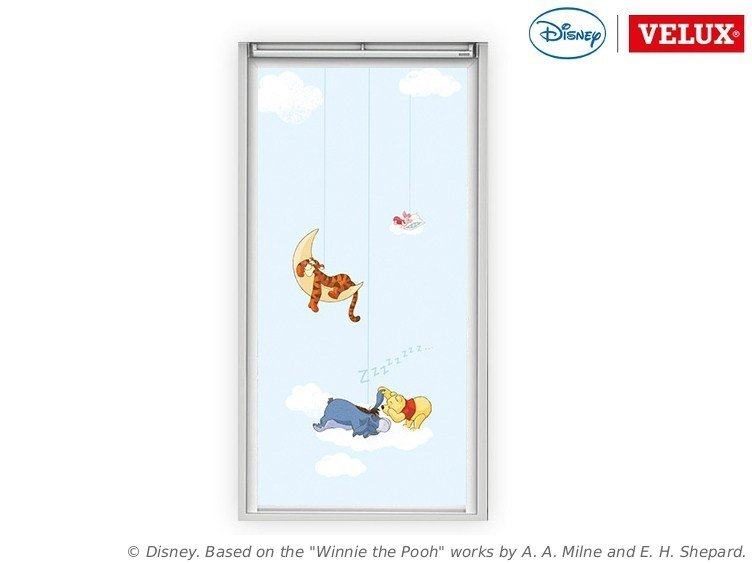 Dimming fabric skylight shade Winnie the Pooh 1 by Velux