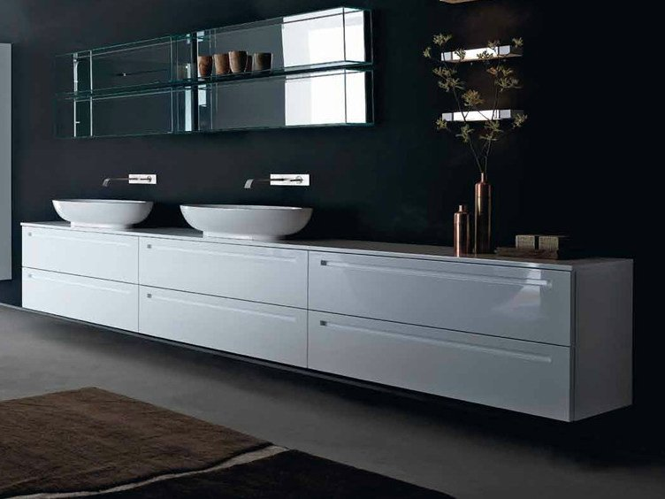 Lacquered vanity unit with drawers ZERO | Lacquered vanity unit by RIFRA