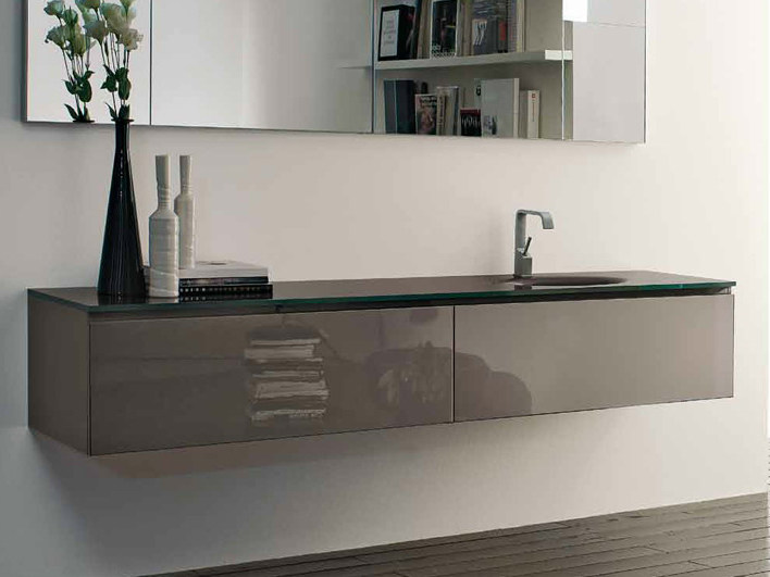 Lacquered wall-mounted vanity unit B2K | Single vanity unit by RIFRA