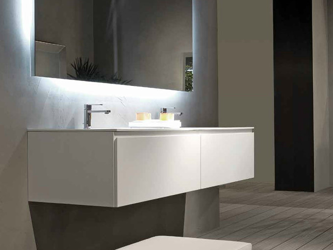 Lacquered wall-mounted vanity unit B2K | Double vanity unit by RIFRA