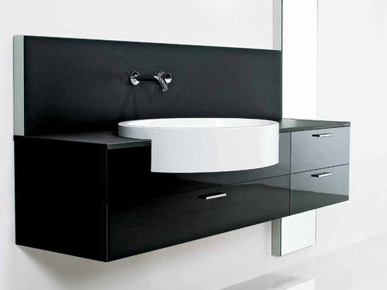 Lacquered wall-mounted vanity unit FONTE | Single vanity unit by RIFRA