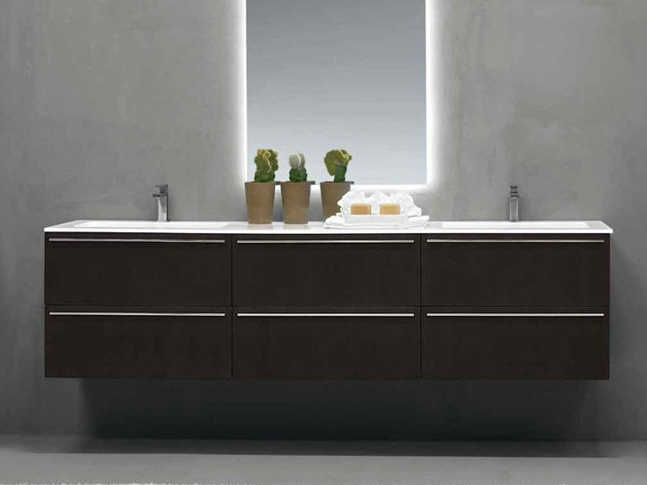 Lacquered wall-mounted vanity unit FONTE | Double vanity unit by RIFRA