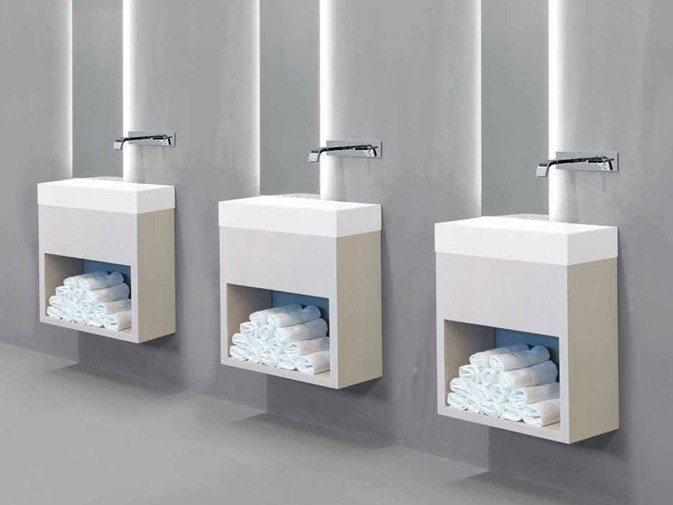 Single wall-mounted vanity unit LAVAMANI by RIFRA