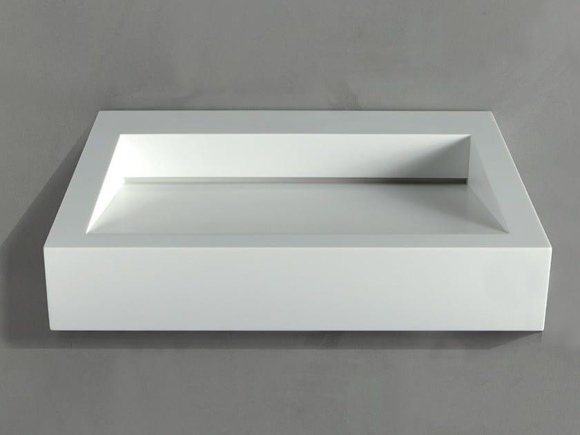Rectangular wall-mounted Corian® washbasin GAP TO WALL 04 by RIFRA