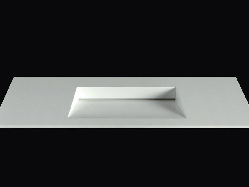 Rectangular Corian® washbasin with integrated countertop PLANO WB10 by RIFRA
