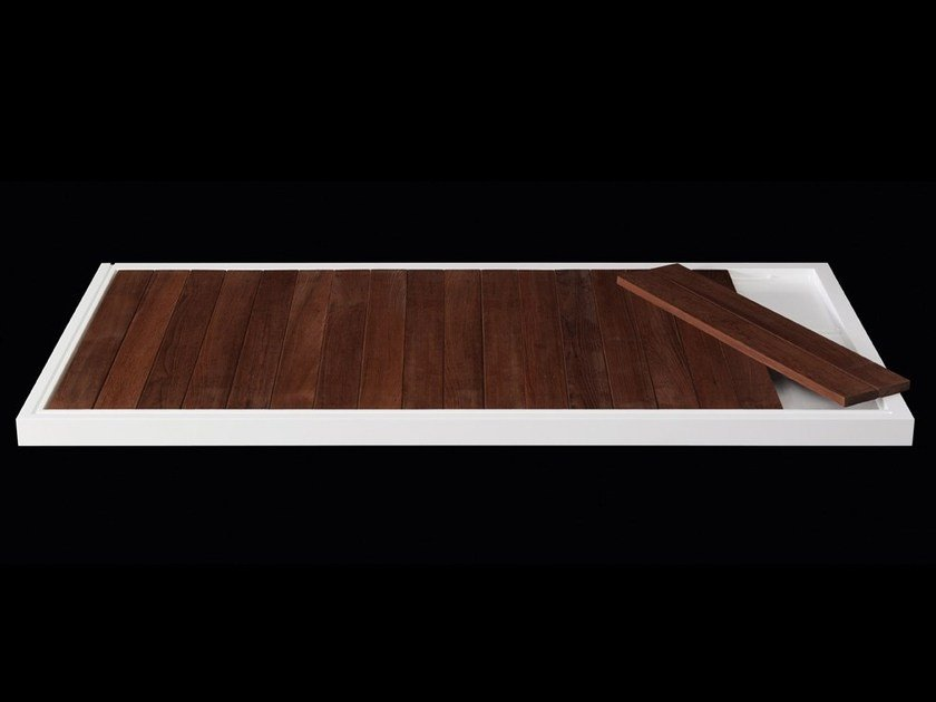 Slatted teak shower tray LINE 60 | Teak shower tray by RIFRA