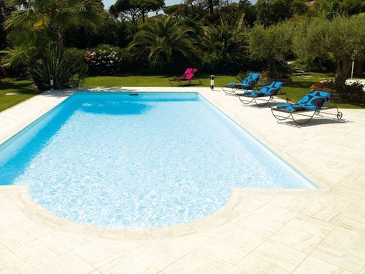 Composite material outdoor floor tiles TRAVERTIN DESJOYAUX by Desjoyaux