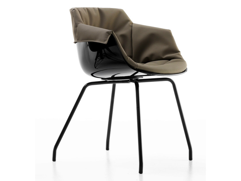Upholstered polycarbonate chair with armrests FLOW SLIM | Chair with armrests by MDF Italia