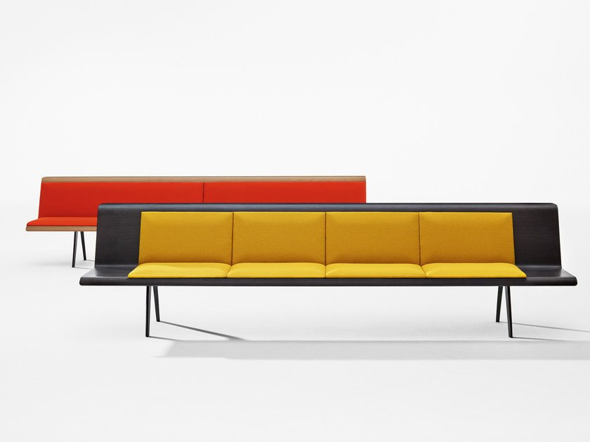 Modular multi-layer wood bench ZINTA WAITING by arper
