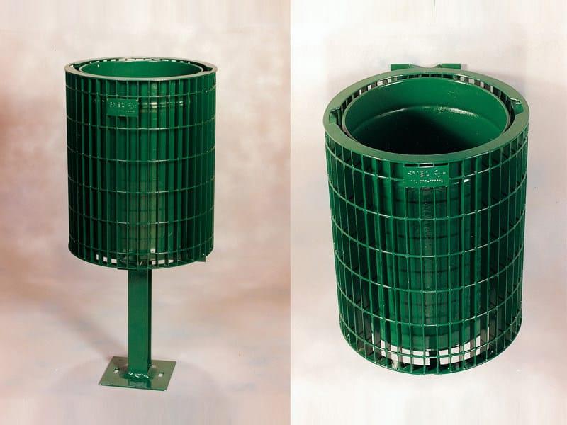 Outdoor galvanized steel litter bin ECO SLIM 0124 by SMEC