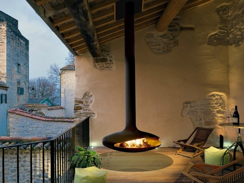 Outdoor hanging fireplace GYROFOCUS | Outdoor fireplace by Focus creation