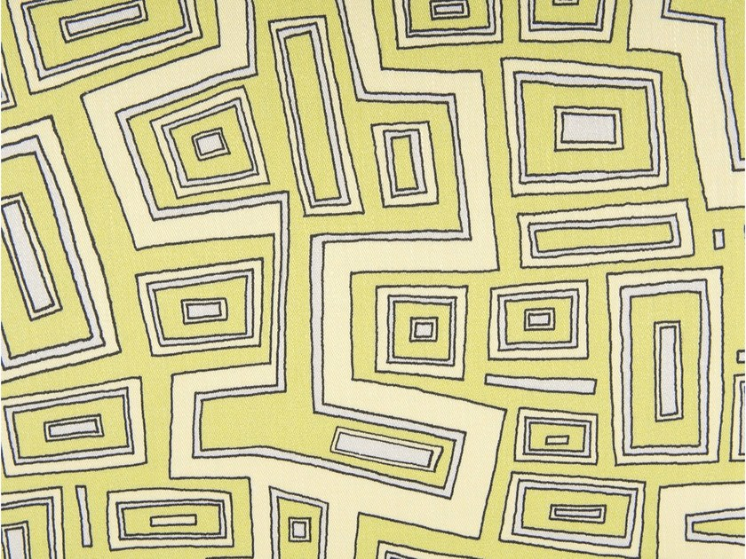 Linen and cotton fabric with graphic pattern TURTLE DRIVE by KOHRO