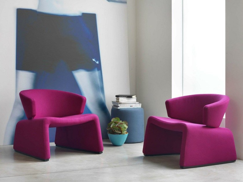 Upholstered fabric easy chair PUPA by Bontempi