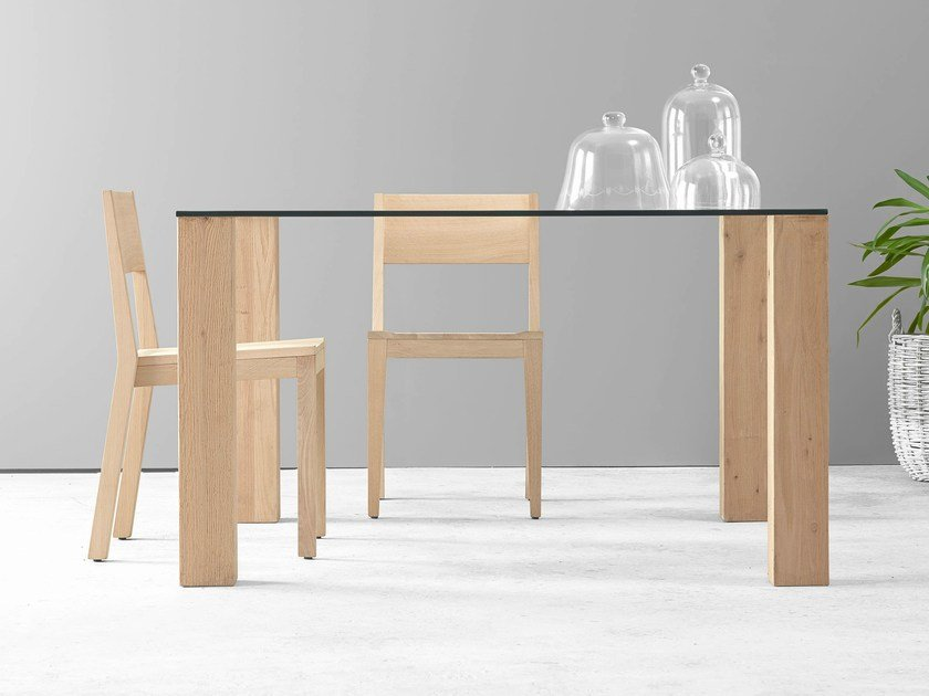 Rectangular glass table ANDA by ONDARRETA