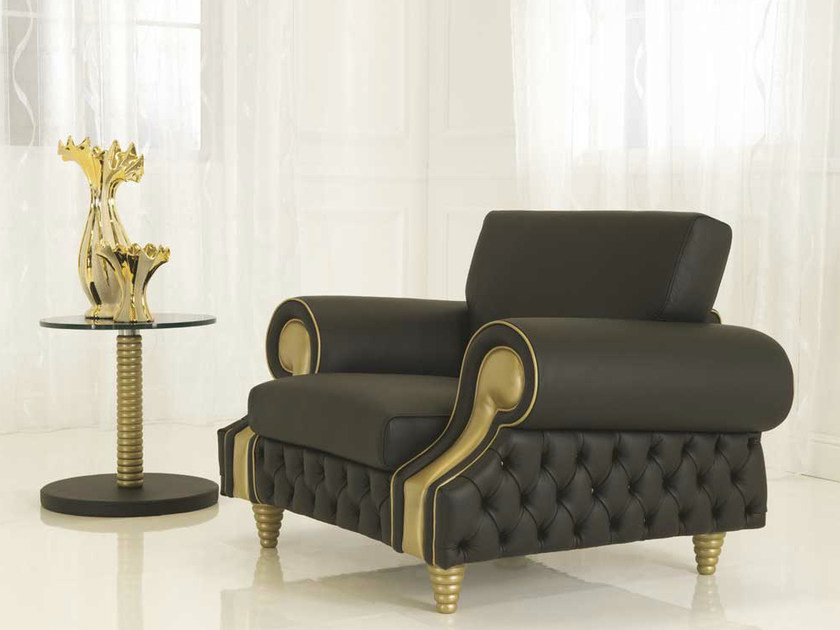 Tufted upholstered leather armchair with armrests VENICE | Armchair by Formenti