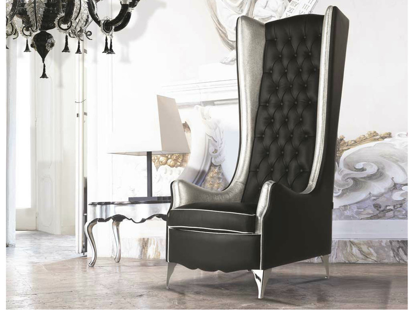 Tufted high-back leather armchair with armrests NINA LUXURY | Leather armchair by Formenti