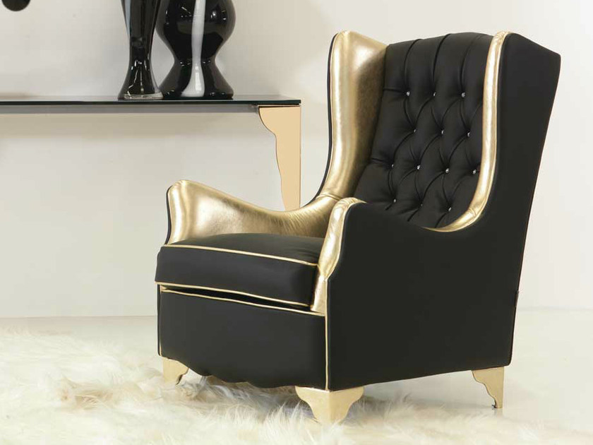 Tufted upholstered leather armchair with armrests NINA | Leather armchair by Formenti