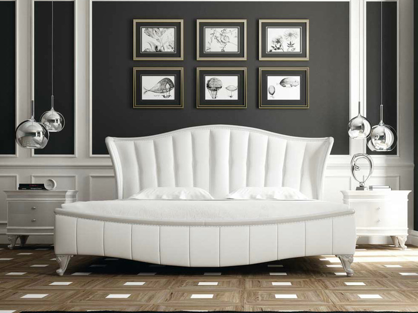 Upholstered double bed with upholstered headboard ROSE by Formenti