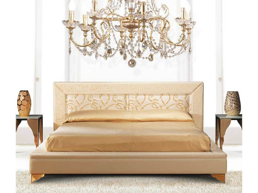 Upholstered fabric double bed with upholstered headboard EMOTION by Formenti