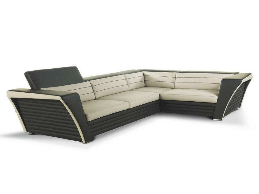 Corner leather sofa with headrest AVATAR | Corner sofa by Formenti