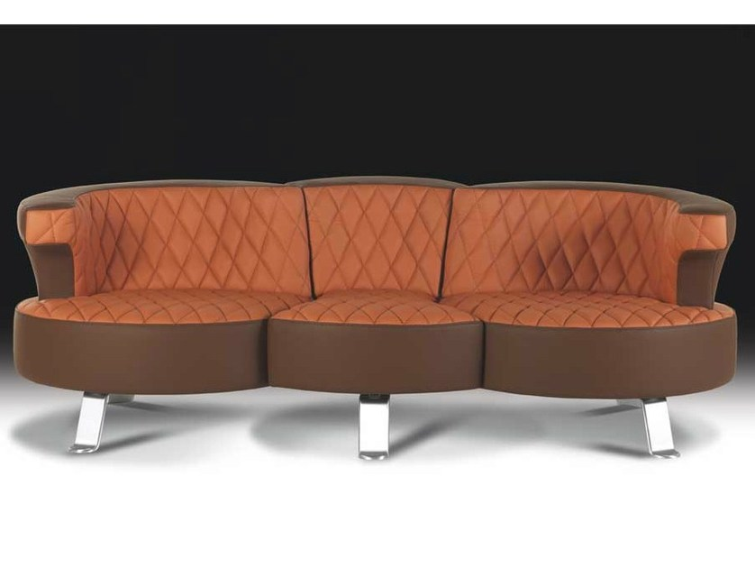 Sectional convertible leather sofa BRIDGE by Formenti