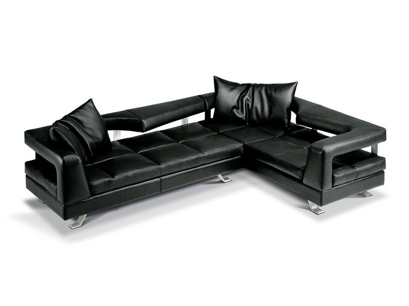 Corner sectional leather sofa WAVE by Formenti