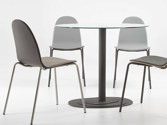 Round steel table TRIO 75 by ONDARRETA