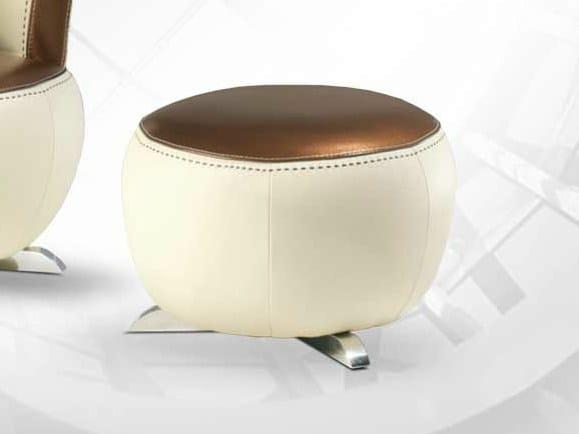 Leather footstool MOKA | Footstool by Formenti
