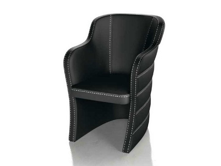 Upholstered leather chair with armrests QUEEN by Formenti