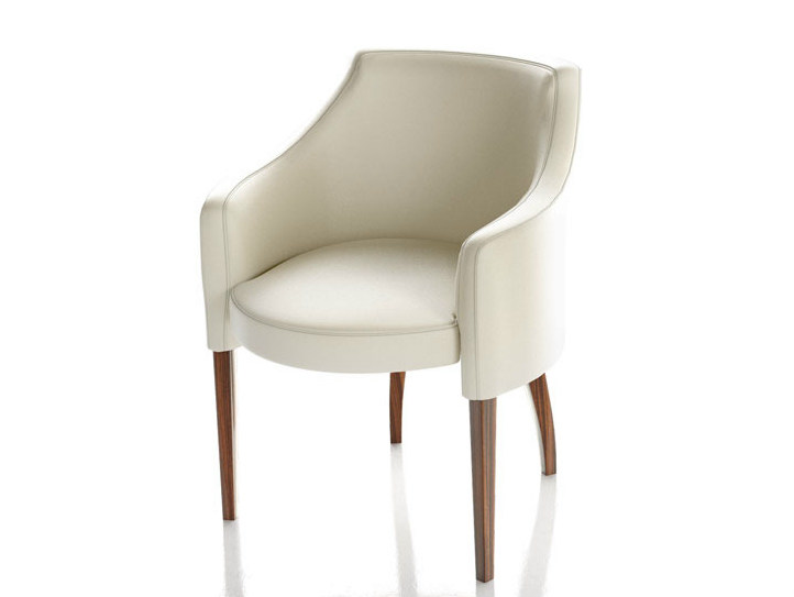 Upholstered leather chair with armrests EMILY by Formenti