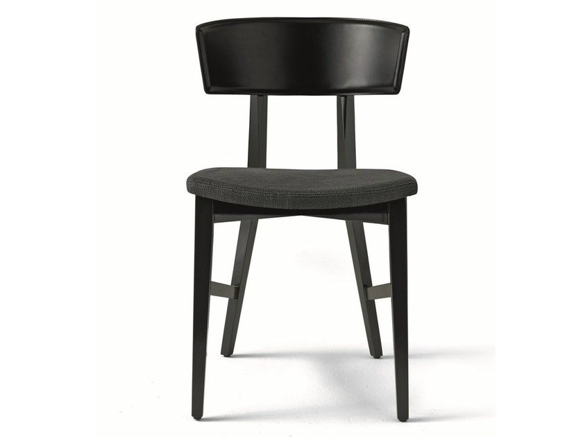 Upholstered lacquered solid wood chair ALINA by MisuraEmme