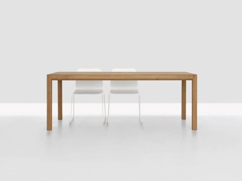 Extending rectangular wooden table DOMINO ZOOM by ZEITRAUM