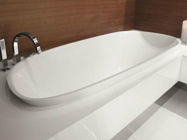 Semi-inset Ceramilux® bathtub LEVEL 45 | Semi-inset bathtub by FALPER