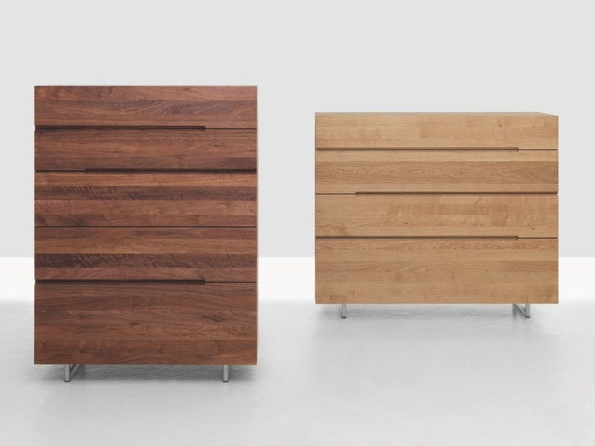 Contemporary style wooden chest of drawers TWILL TWEED by ZEITRAUM
