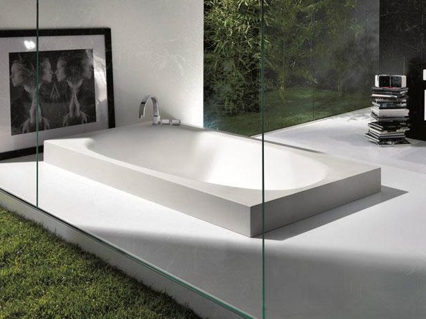 Semi-inset Cristalplant® bathtub SHAPE | Bathtub by FALPER