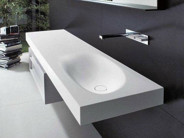 Wall-mounted Cristalplant® washbasin with integrated countertop SHAPE H10 by FALPER