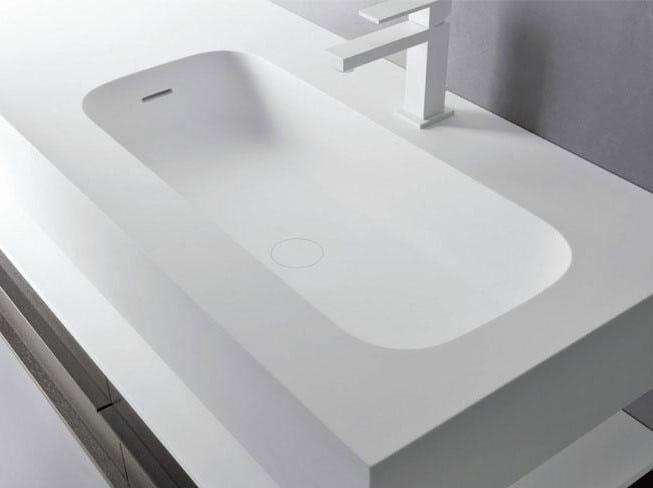 Rectangular single Cristalplant® washbasin with integrated countertop ROUND H15 | Single washbasin by FALPER