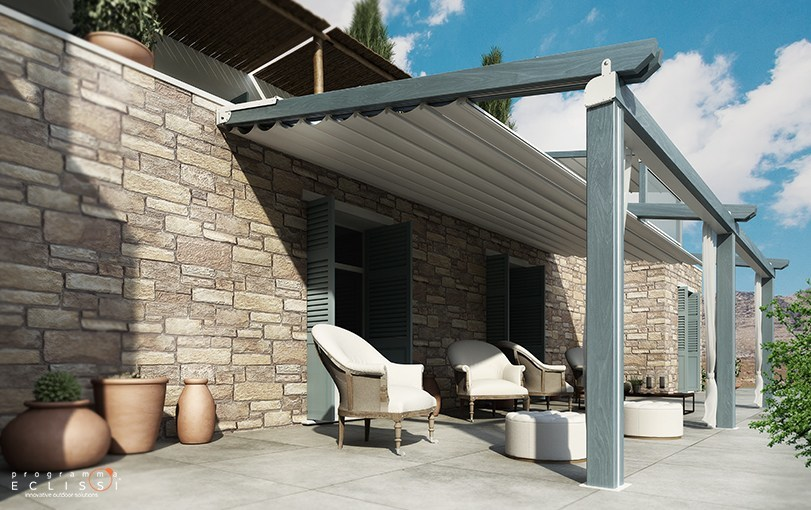 Wall-mounted wooden pergola with sliding cover WOOD by DIRELLO