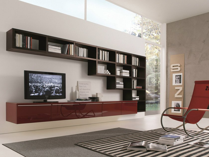 Sectional wall-mounted lacquered storage wall CROSSING | Lacquered storage wall by MisuraEmme
