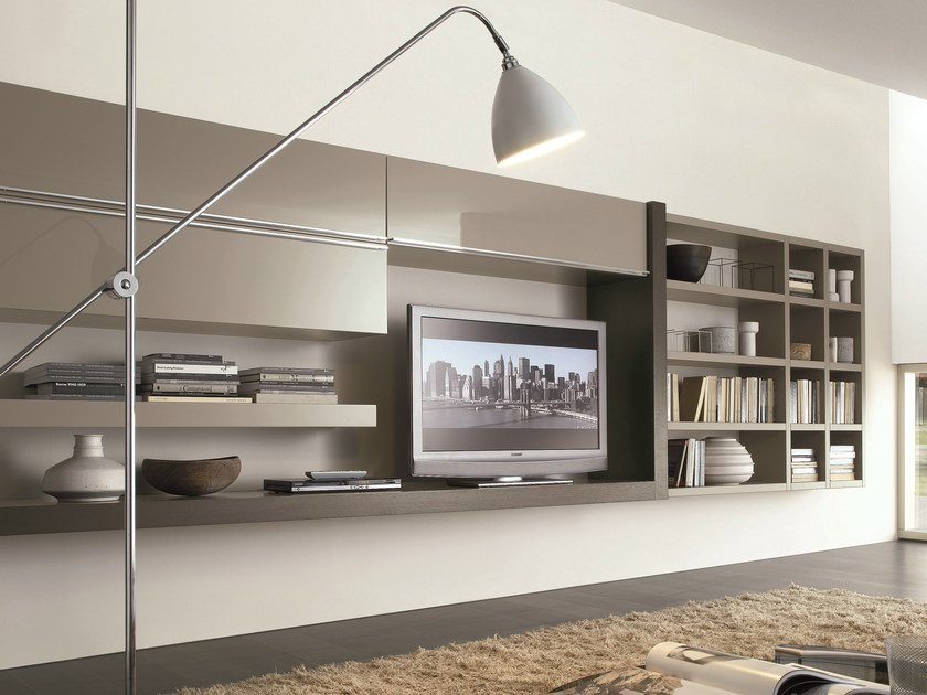 Sectional wall-mounted lacquered storage wall CROSSING | Sectional storage wall by MisuraEmme