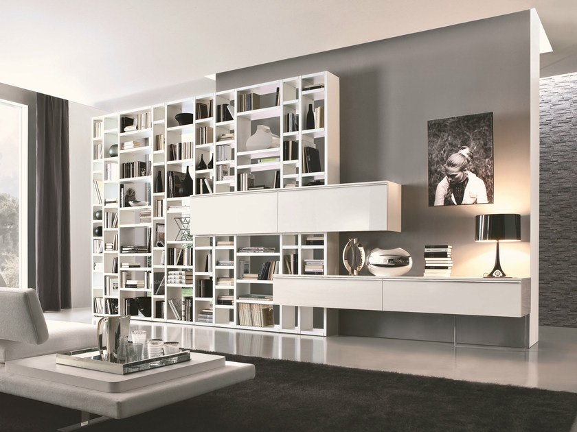 Open sectional bookcase with drawers CROSSING | Bookcase by MisuraEmme