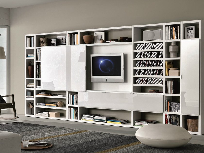 Sectional lacquered storage wall CROSSING | Lacquered storage wall by MisuraEmme
