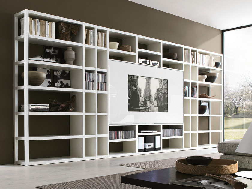 Open lacquered TV wall system CROSSING | Lacquered bookcase by MisuraEmme